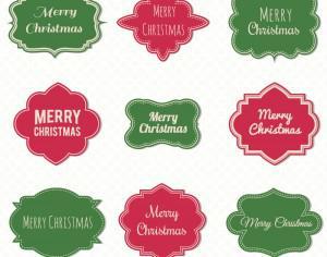 Christmas label set Photoshop brush