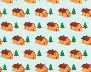 Christmas pattern with house Photoshop brush