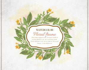 Vintage watercolor floral frame with typography Photoshop brush