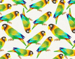 Watercolor background with parrots Photoshop brush