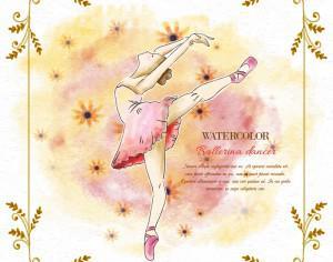 Watercolor ballerina dancer Photoshop brush