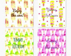 Watercolor ice cream cards Photoshop brush