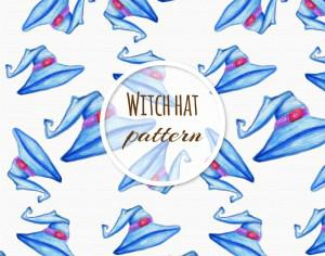 Watercolor pattern with hat  Photoshop brush