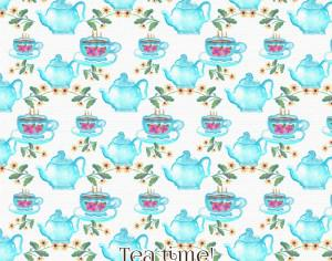 Watercolor tea pattern Photoshop brush