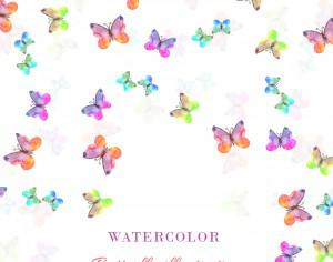 Watercolor illustration with butterflies Photoshop brush