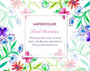 Watercolor invitation with floral frame Photoshop brush