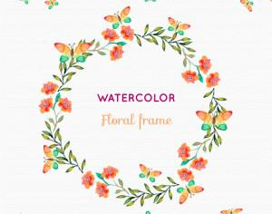 Watercolor floral frame Photoshop brush