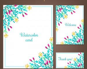 Watercolor cards with summer flowers Photoshop brush