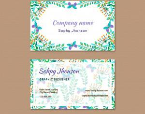Watercolor business card with flower Photoshop brush