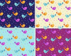 Pattern With Doodle Birds Photoshop brush