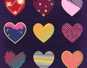 Set of Cute Hearts Photoshop brush