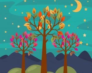 Night forest landscape Photoshop brush