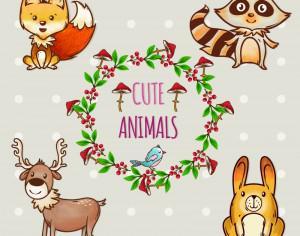 Cute set of animals with frame Photoshop brush