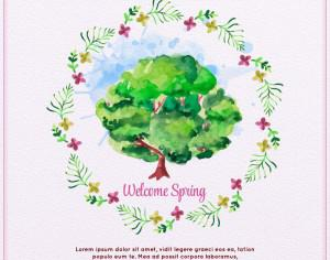 Watercolor Spring Illustration  Photoshop brush