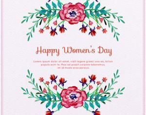 Watercolor Women's Day Floral Frame  Photoshop brush