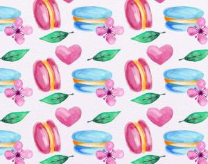 Cute Watercolor Pattern with Candies Photoshop brush