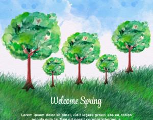 Watercolor Spring Landscape Photoshop brush