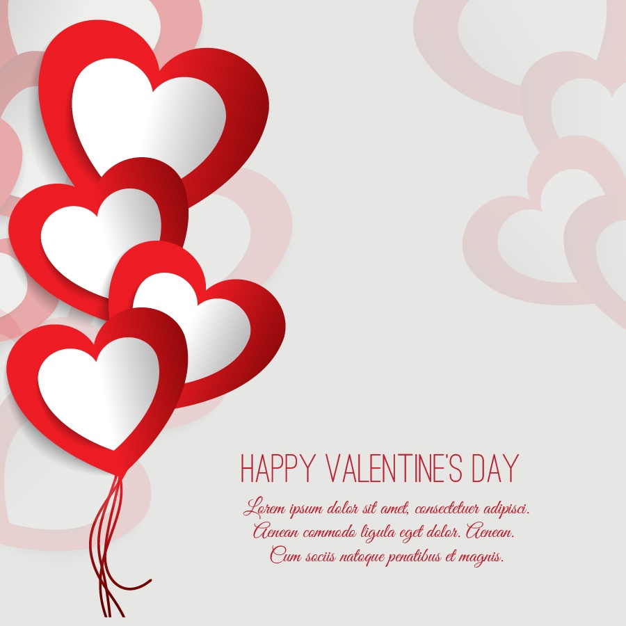 Valentine's day vector illustration with paper hearts Photoshop brush