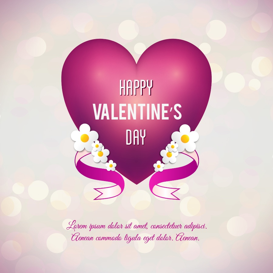 Valentine's day vector illustration with heart, flowers and ribbon Photoshop brush