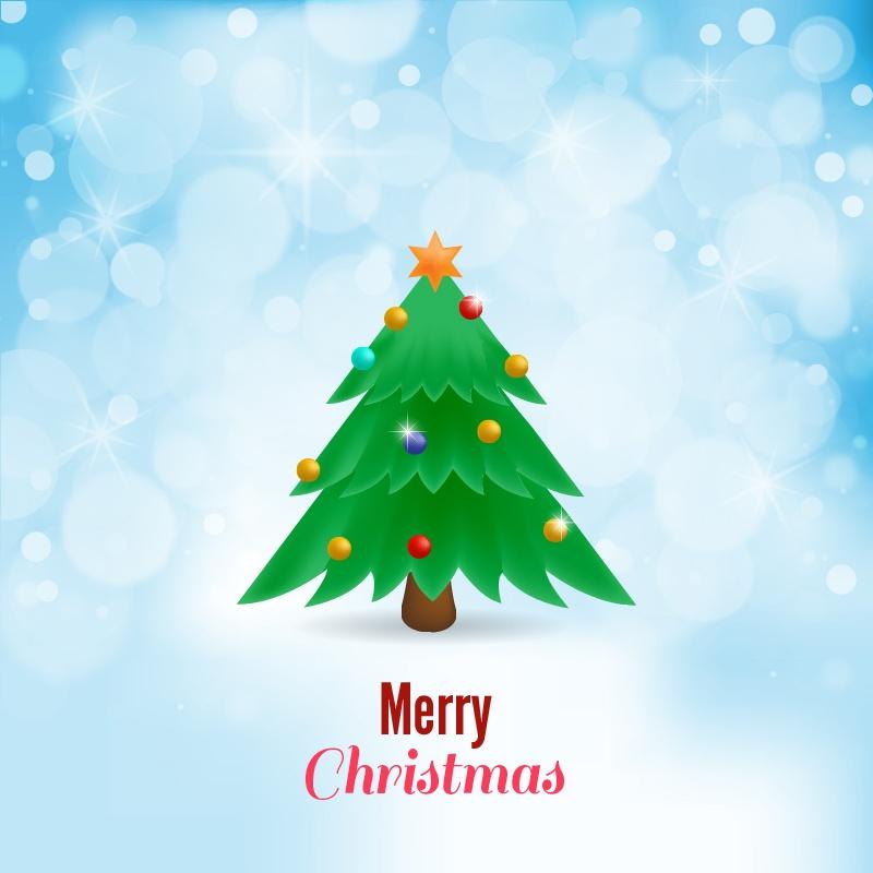 Christmas vector illustration with Christmas tree Photoshop brush