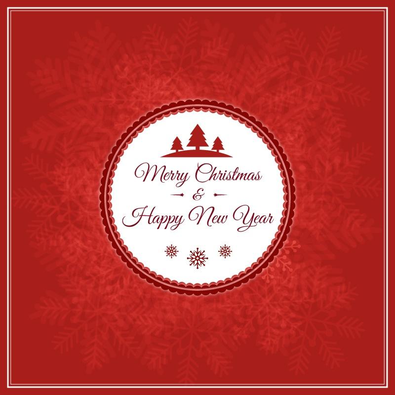 Christmas vector illustration with badge Photoshop brush