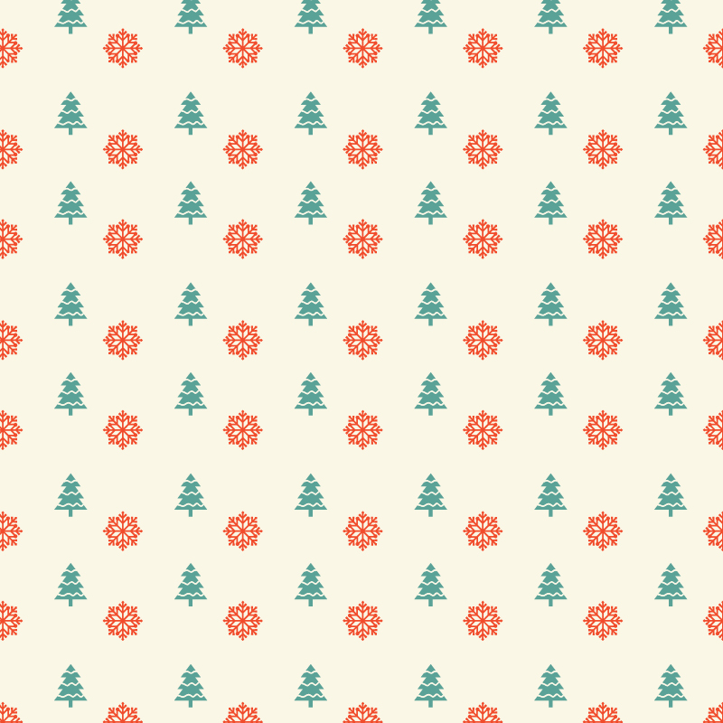 Christmas pattern with snowflakes and christmas tree Photoshop brush