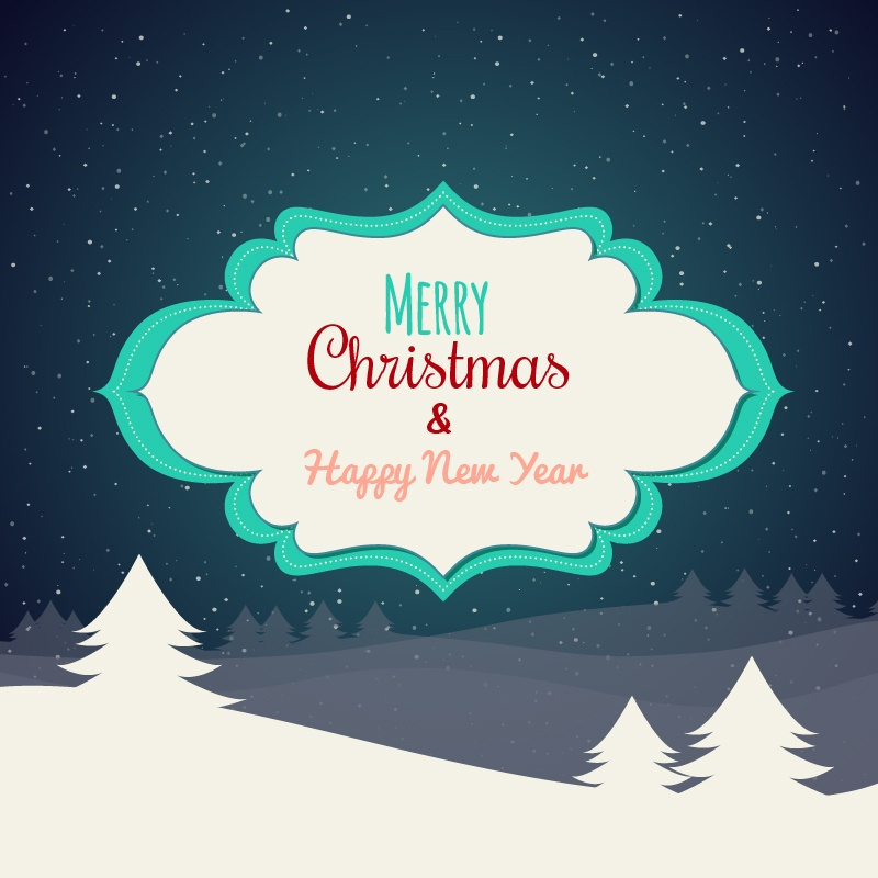 Christmas background with typography and label Photoshop brush