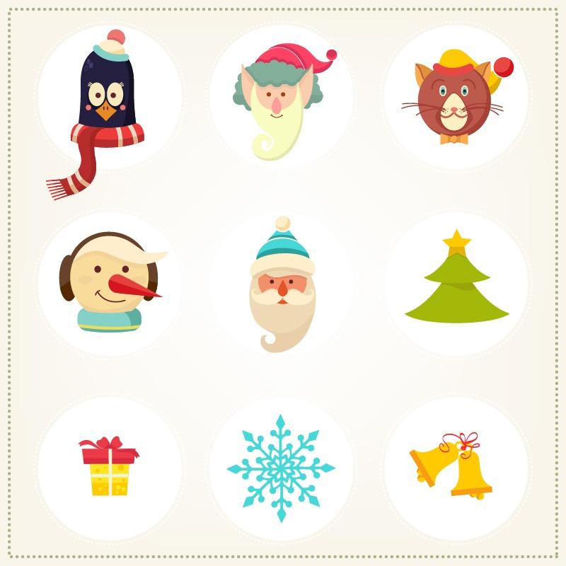 Christmas background with christmas icons Photoshop brush