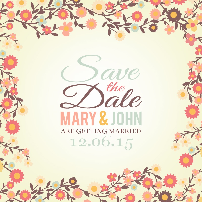 Save the date floral card Photoshop brush