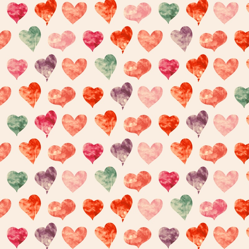 Watercolor pattern with hearts  Photoshop brush