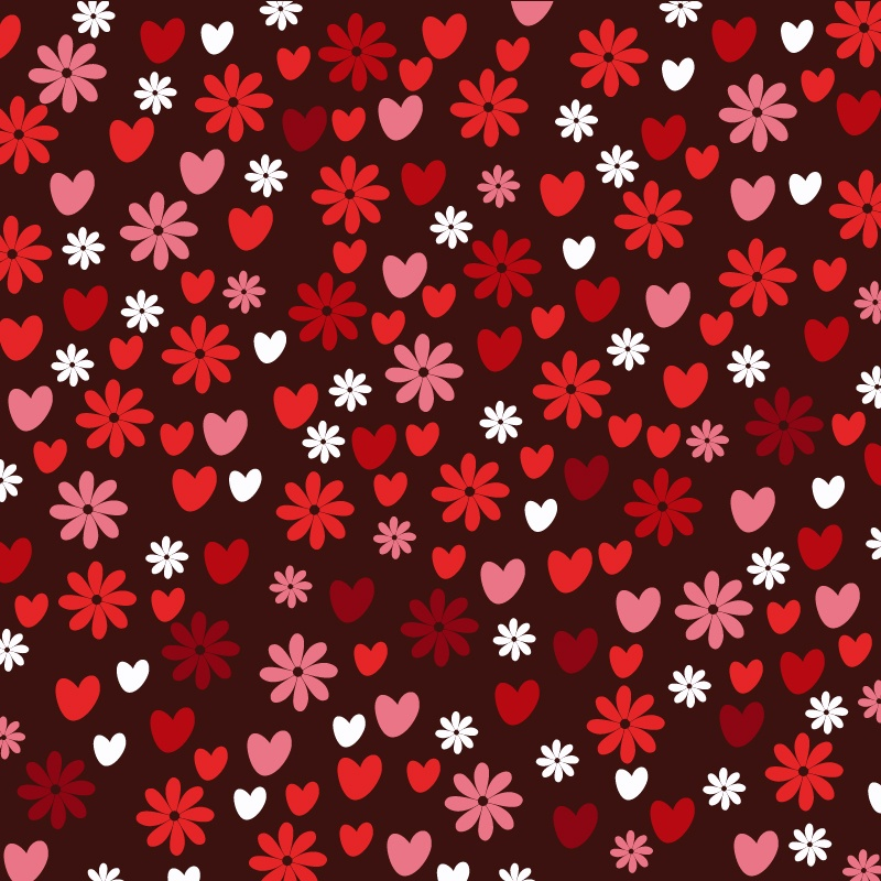 Love pattern with hearts and flowers Photoshop brush