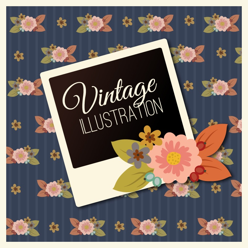 Vintage flower illustration with photoframe Photoshop brush