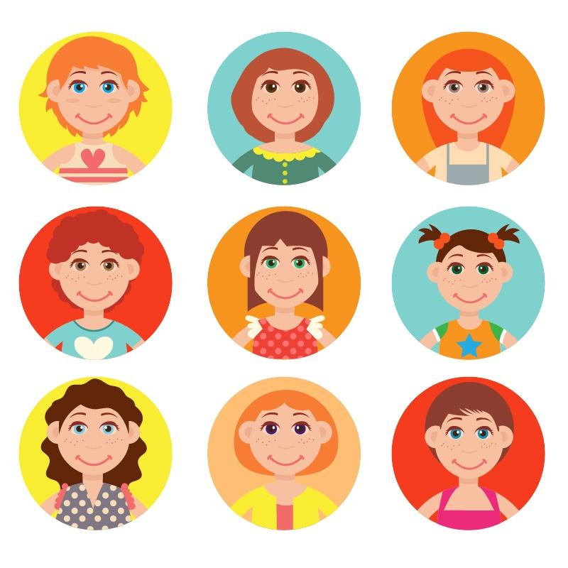 Cute avatars vector set Photoshop brush
