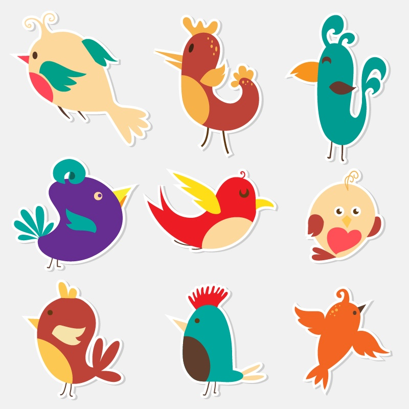 Cute sticker birds vector set  Photoshop brush
