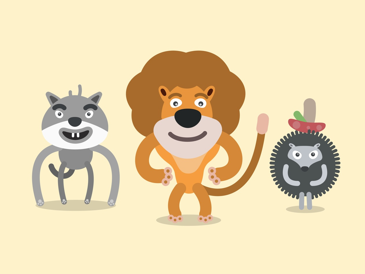Vector cartoon wild characters illustration Photoshop brush