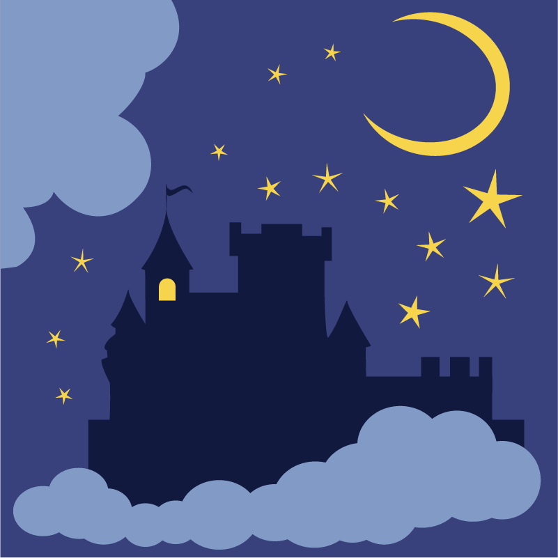 Mysterious castle in the night Photoshop brush