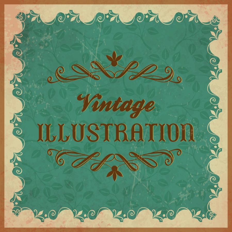 Vintage floral illustration with frame,ornament and typography Photoshop brush