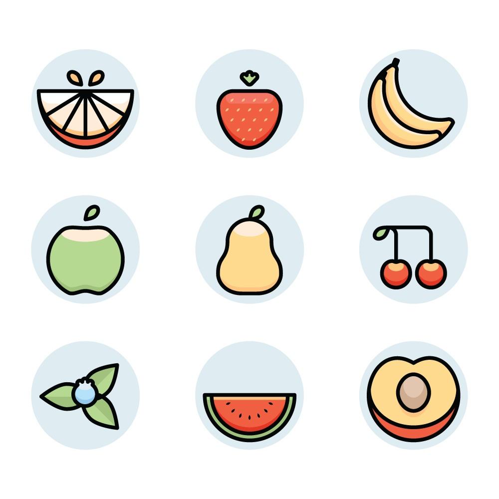 fruit icons Photoshop brush