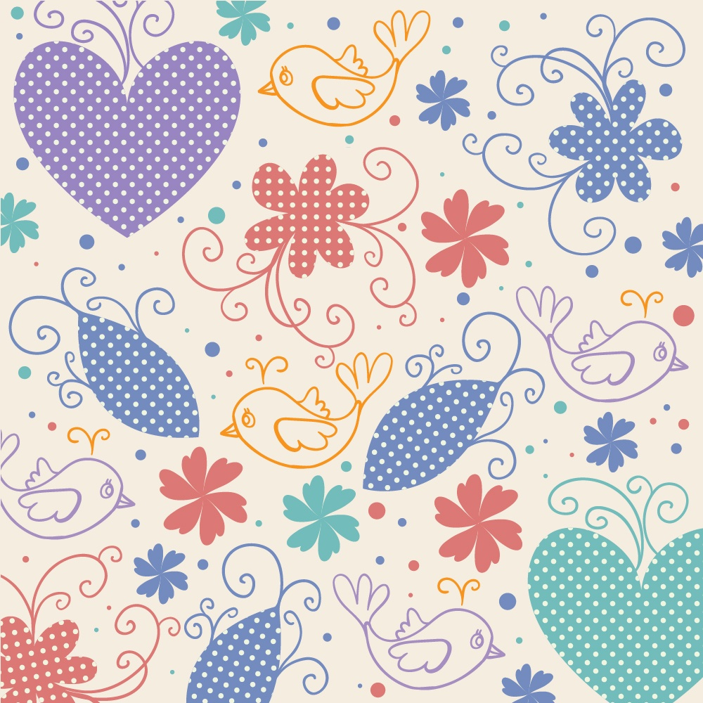 Vector illustration with hearts,birds and flowers Photoshop brush
