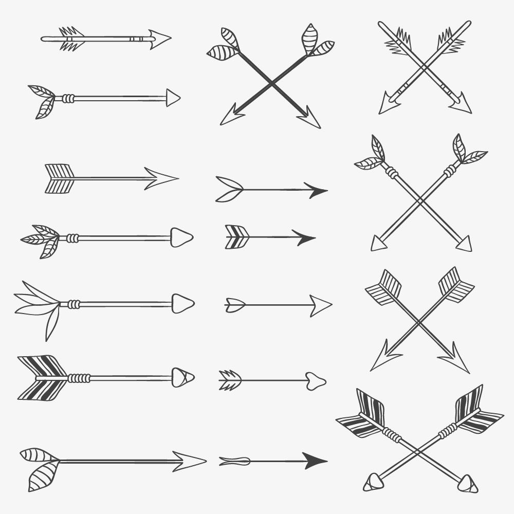 Vintage vector set of handdrawn arrows Photoshop brush