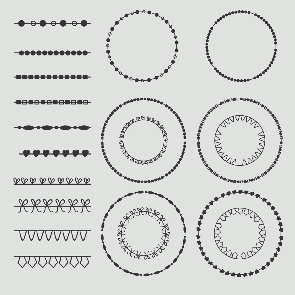 Vintage vector set of calligraphic circles Photoshop brush