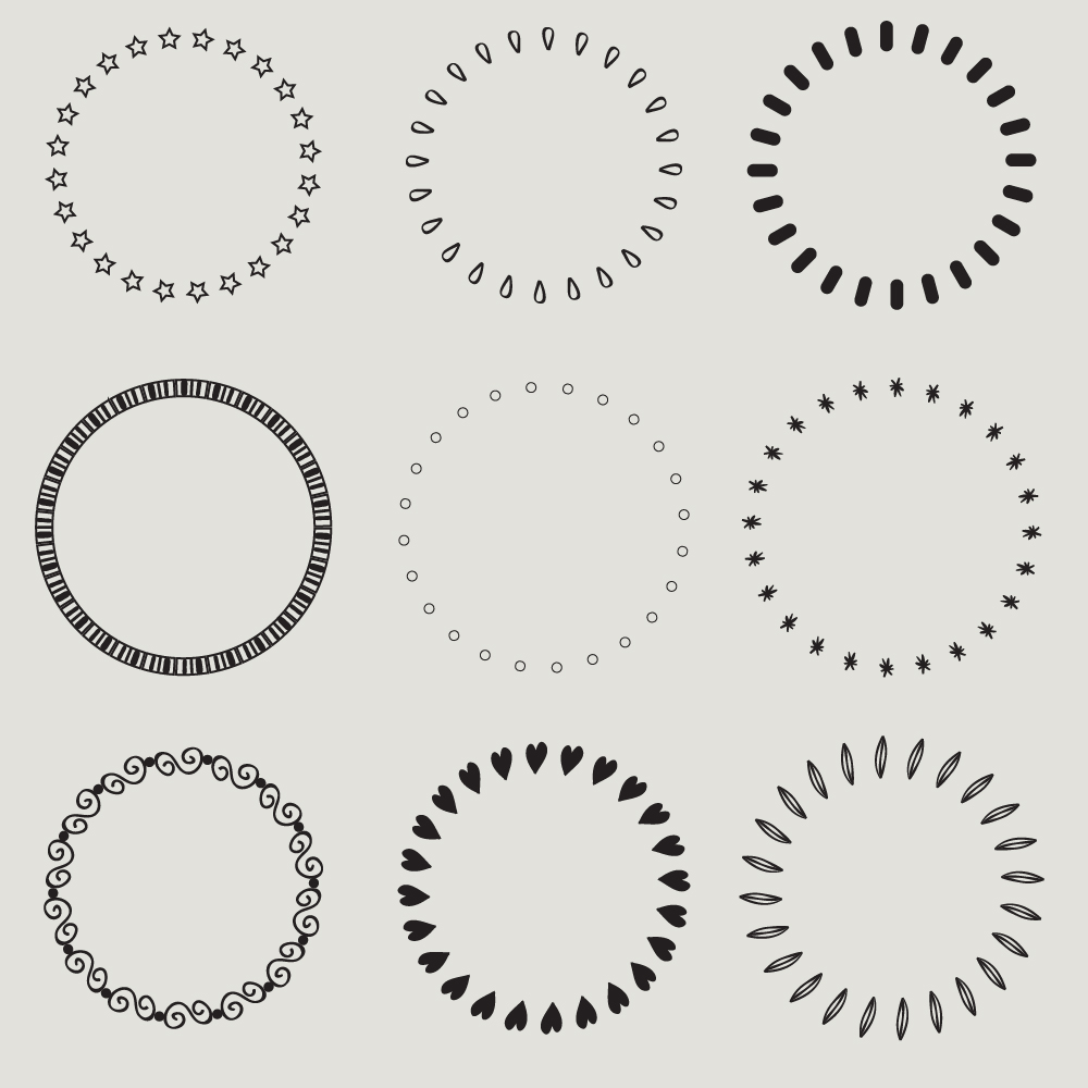 Vintage vector set of calligraphic circles Photoshop brush