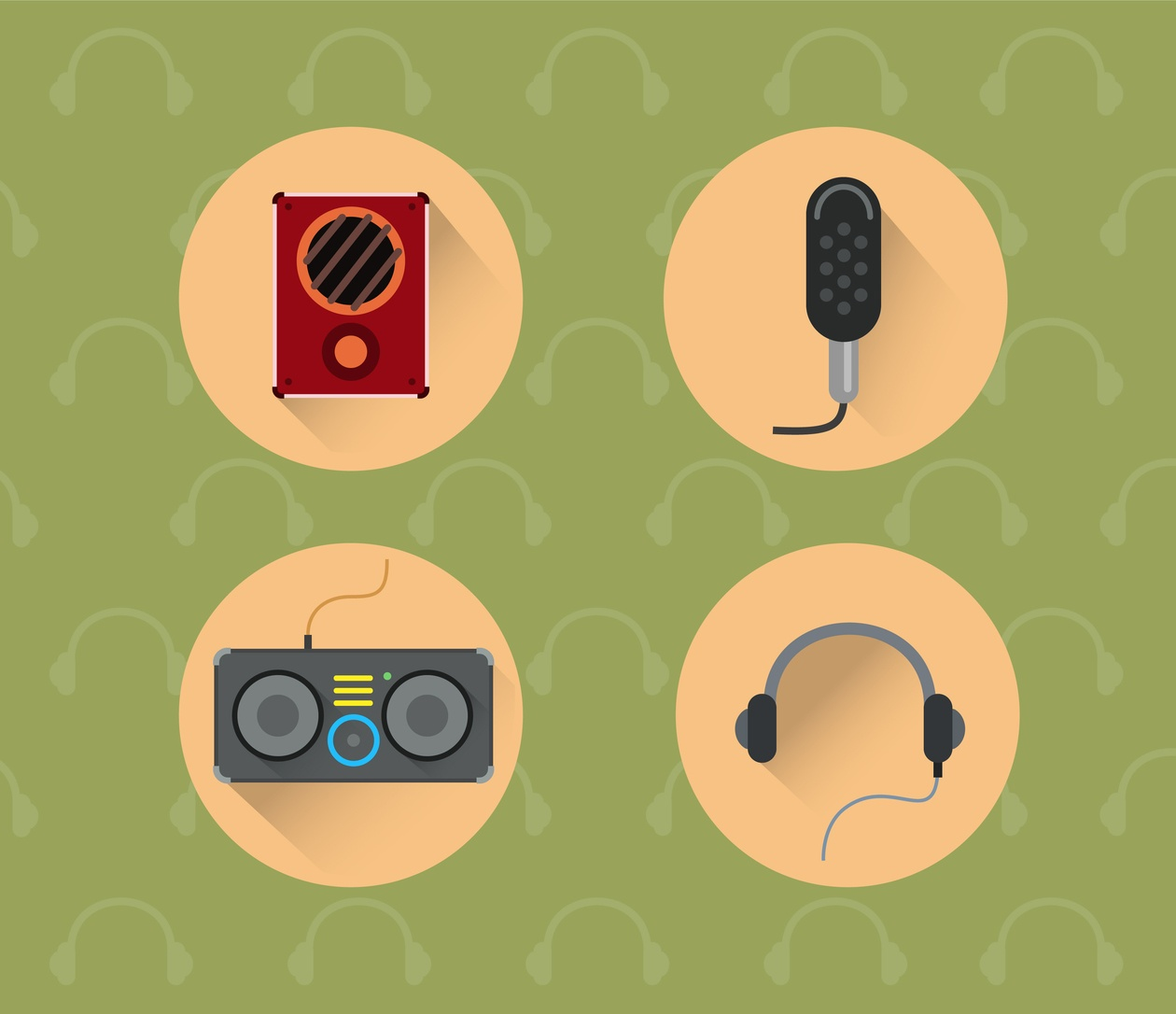 Music objects for design. Vector illustration Photoshop brush