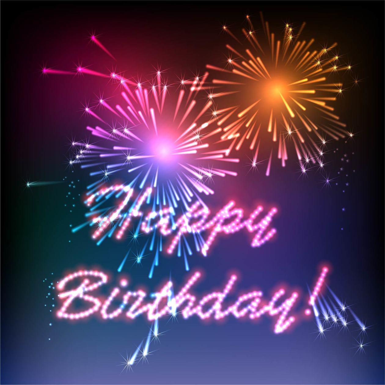 Happy Birthday fireworks Photoshop brush