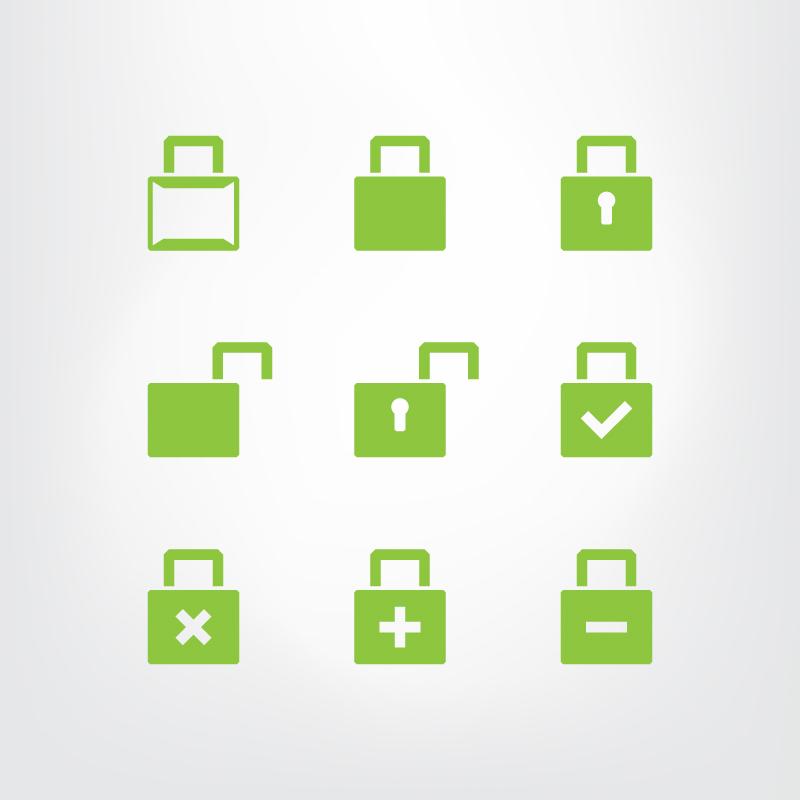 Set of green lock icons Photoshop brush