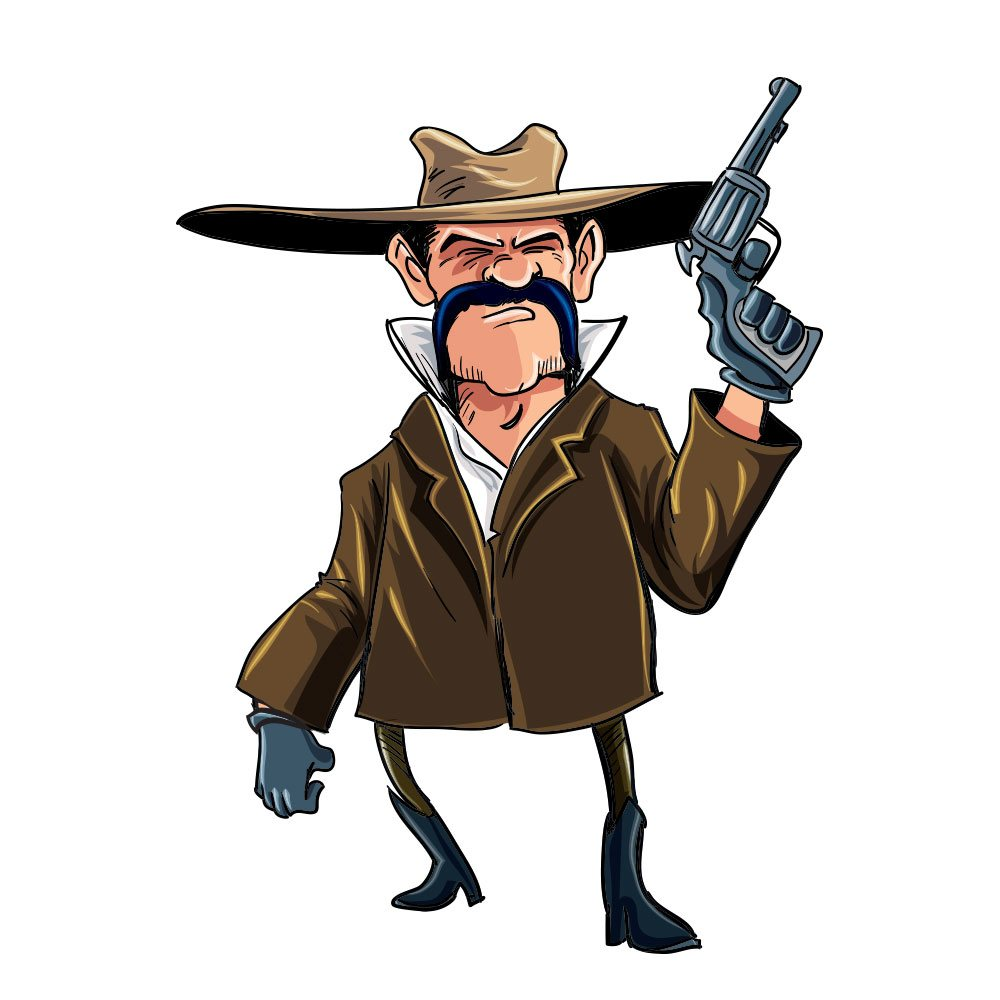Cowboy with gun Photoshop brush