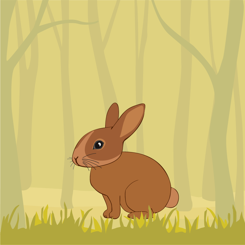 Cute Rabbit In the Forest Photoshop brush
