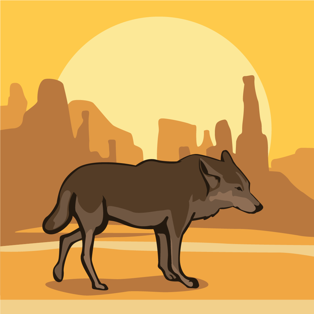 Desert Wolf at Sunset Photoshop brush