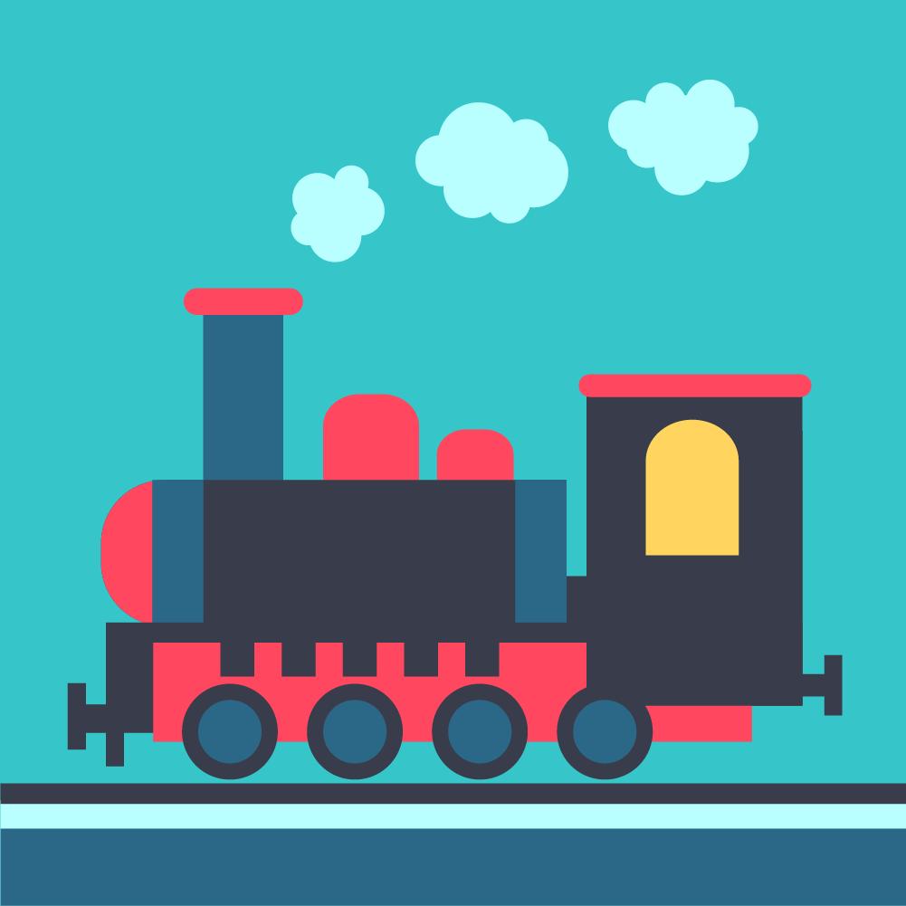 Steam locomotive on rails Photoshop brush