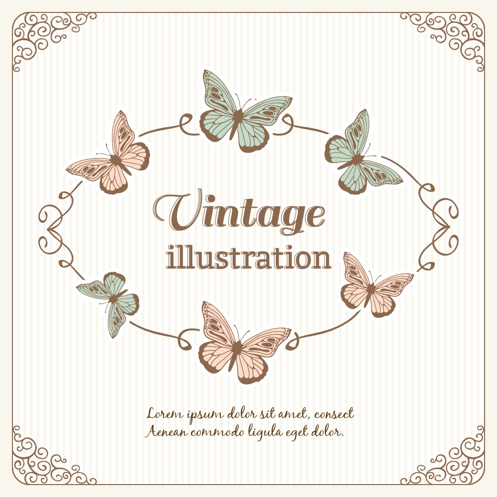 Vintage frame with butterflies and typography Photoshop brush